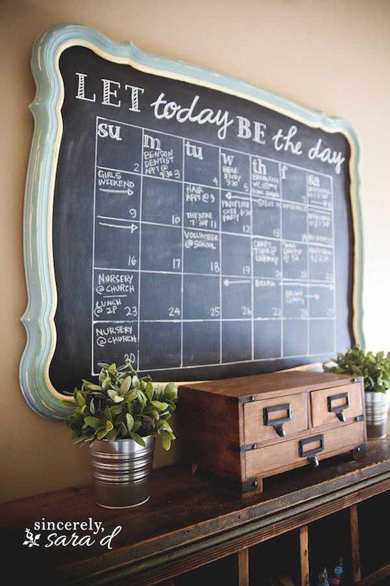 Chalkboard Calendar Wall : Diy chalkboard calendar sincerely sara d