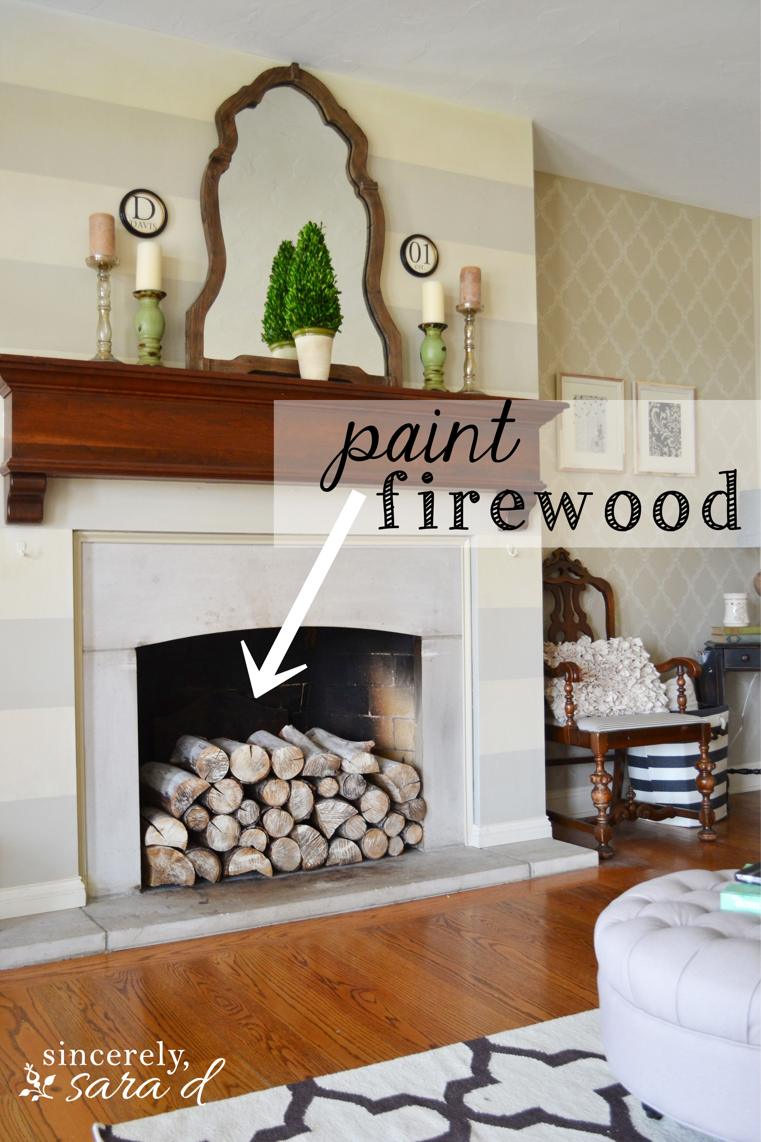 painted firewood sincerely sara d lets talk about stacked wood