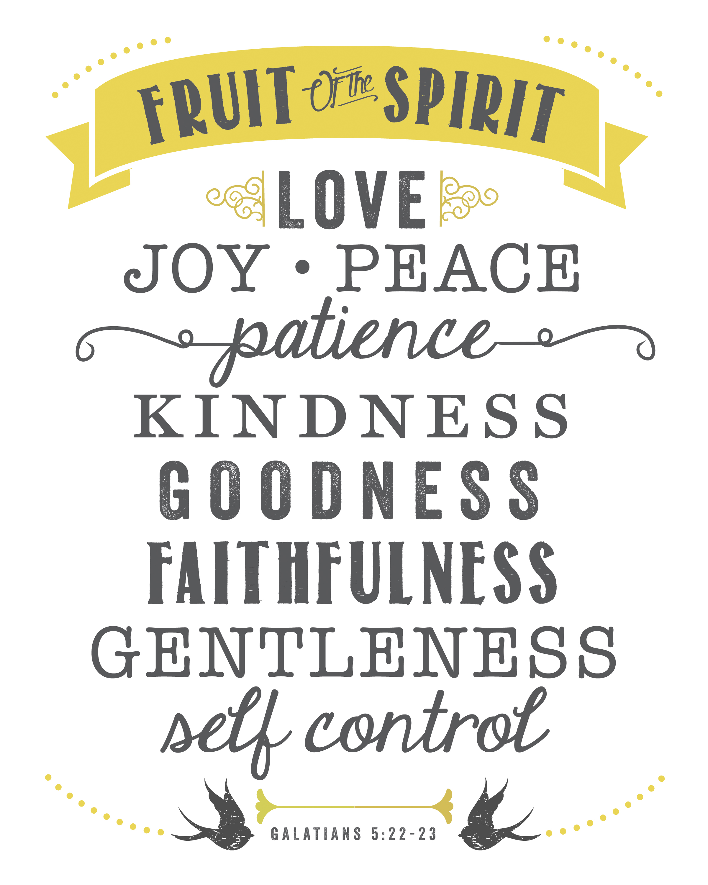 Witty image regarding fruits of the spirit printable