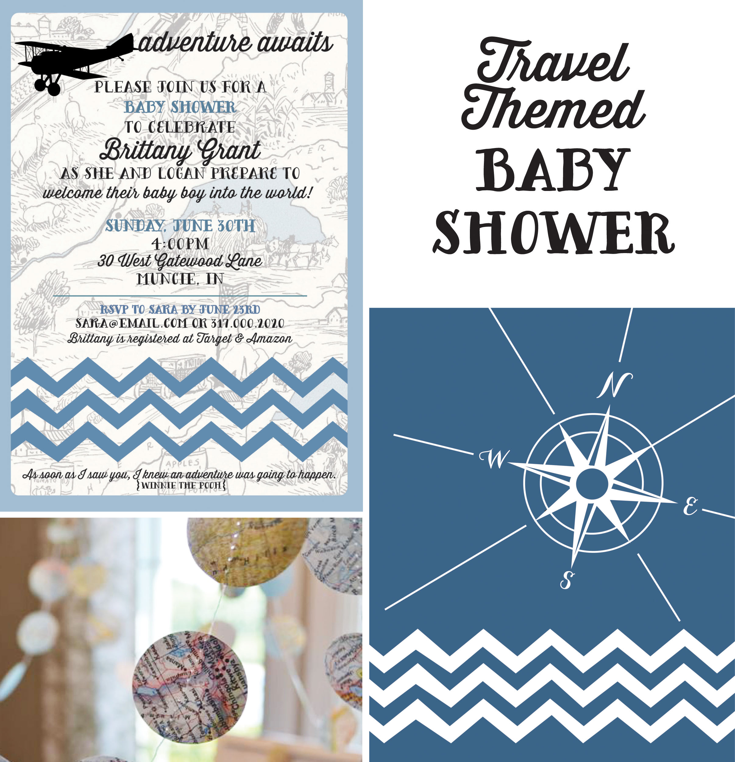 recently hosted a travel themed baby shower for a good friend