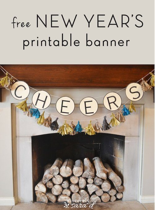 bring in the new year with this simple and free new years printable banner