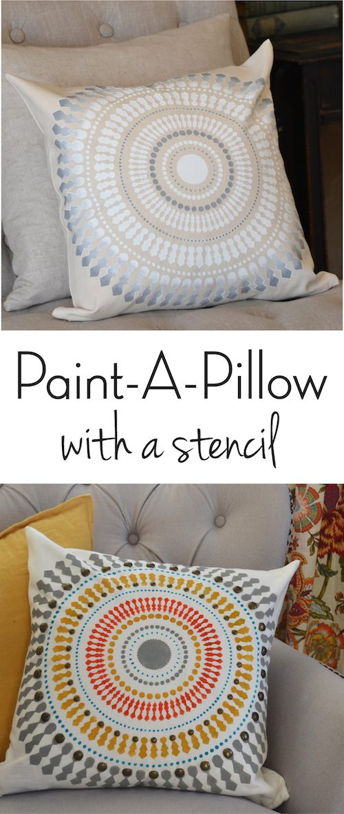 Paint-A-Pillow with a stencil
