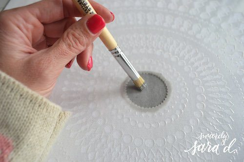 stencil a pillow with brush