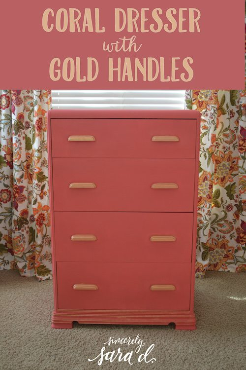 Coral Dresser with Gold Handles