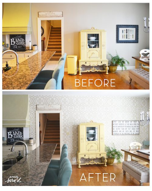 Stenciled Kitchen Before & After