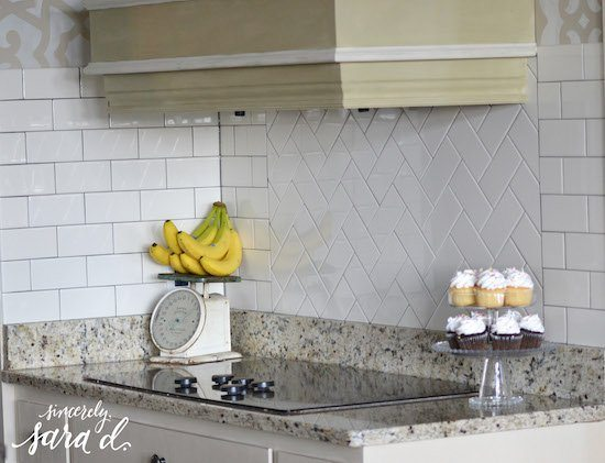 Herringbone Tile Pattern Backsplash