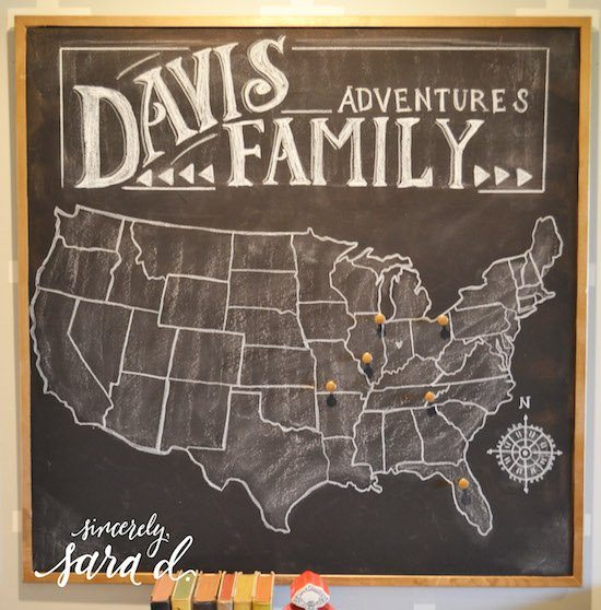 Chalkboard US Travel Map Sincerely Sara D – Family Travel Map