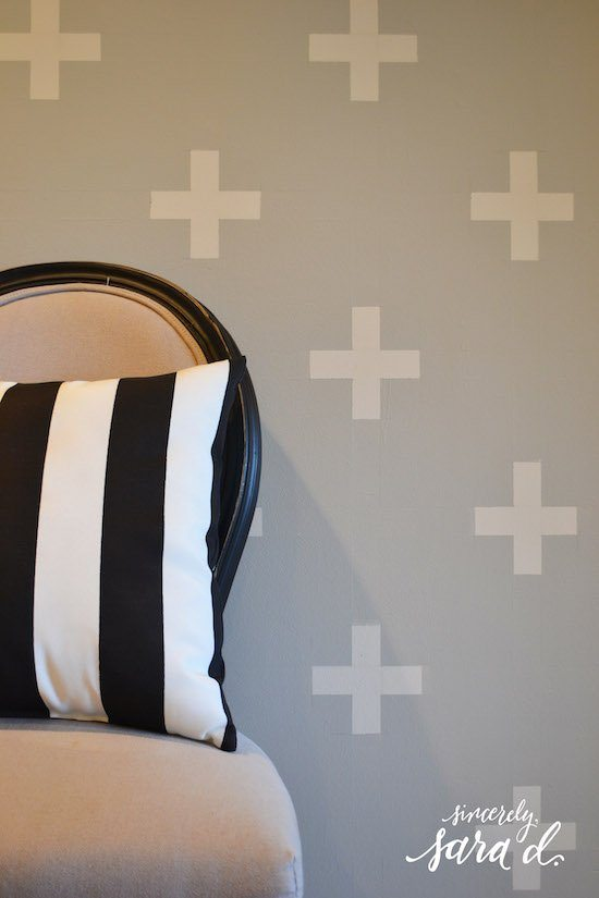 Painted Swiss Cross Patterned Wall
