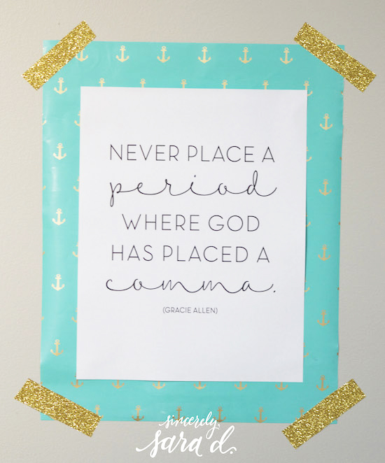 Never Place a Period Where God Has Placed a Comma.
