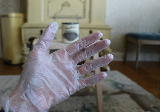Using gloves for staining