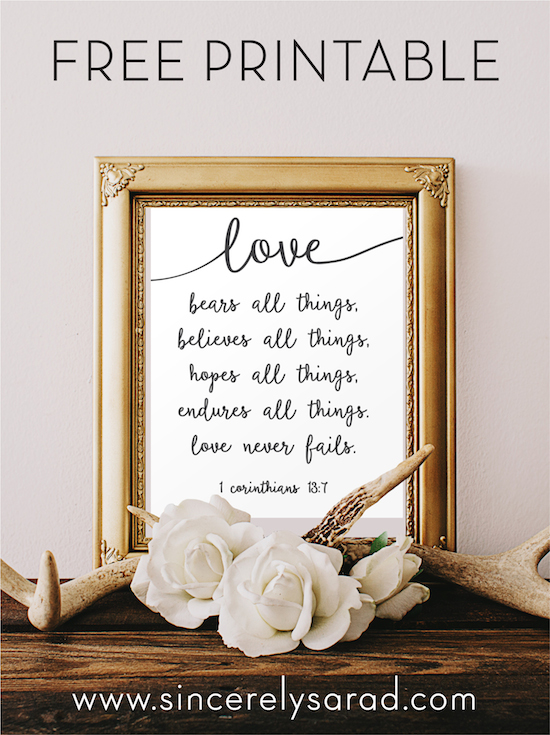 Love Never Fails Free Printable Sincerely Sara D
