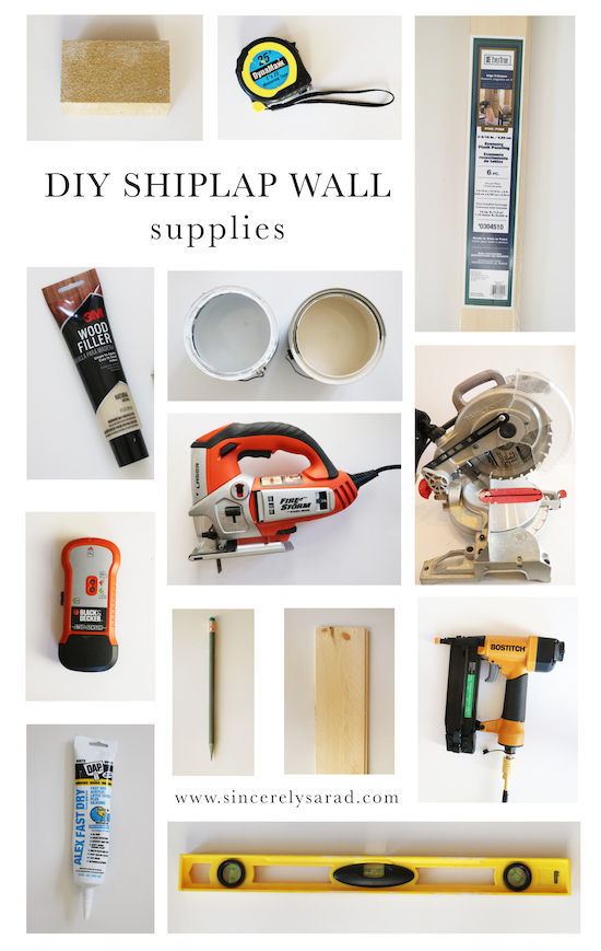 DIY Shiplap Supplies