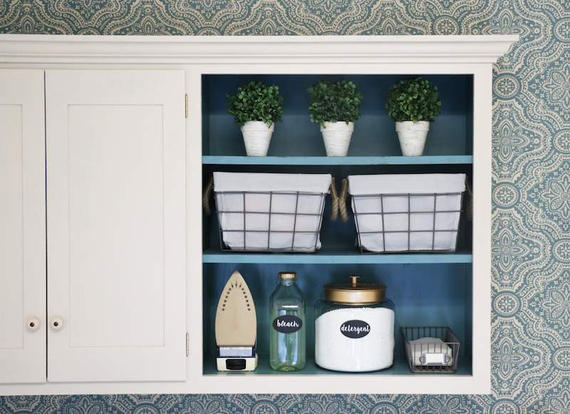 Starched Fabric Walls in Laundry Room