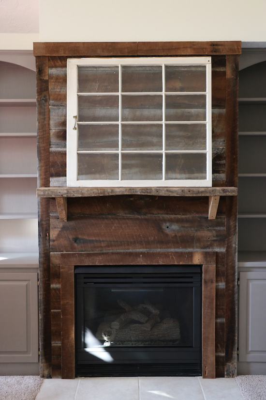 Fireplace Makeover with Paint and Barnwood