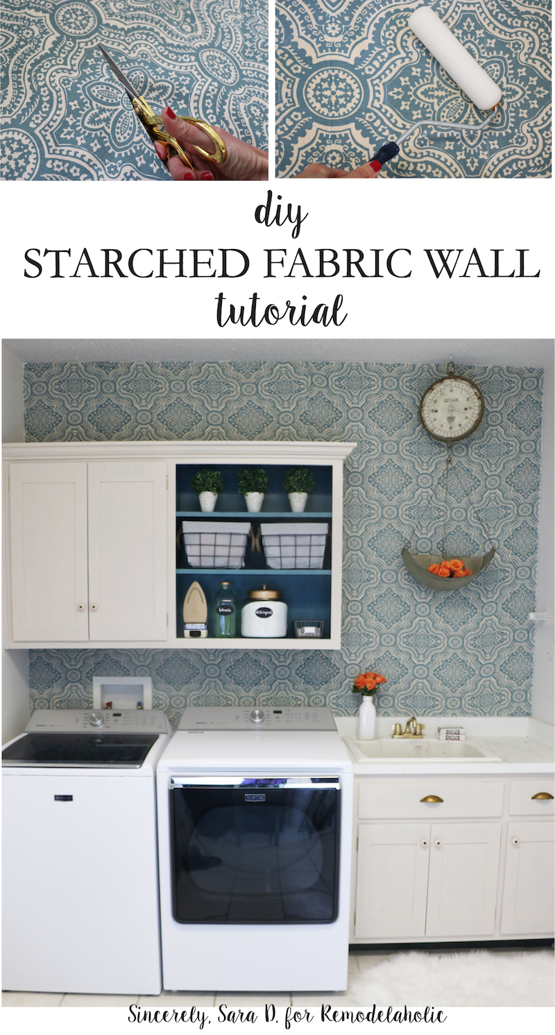 DIY Starched Fabric Wall Tutorial for Remodelaholic