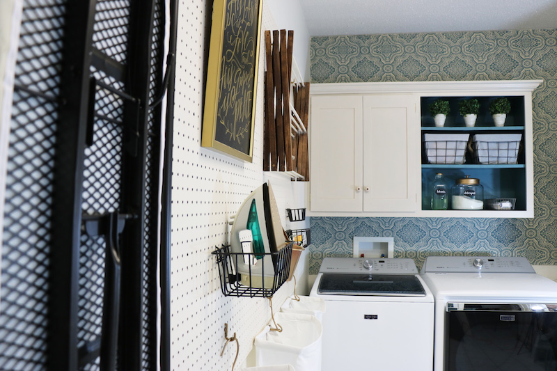 Using peg board in laundry room