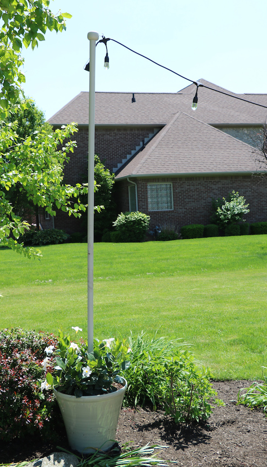 String Lights Outdoor Pole : Enbrighten Cafe Lights & DIY Light Pole Planter - Sincerely, Sara D.