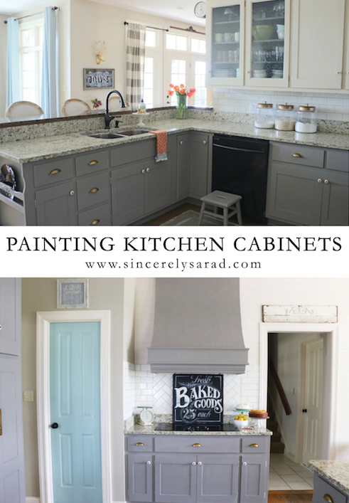 Painting kitchen cabinets all done sincerely sara d for How can i update my kitchen cabinets on a budget