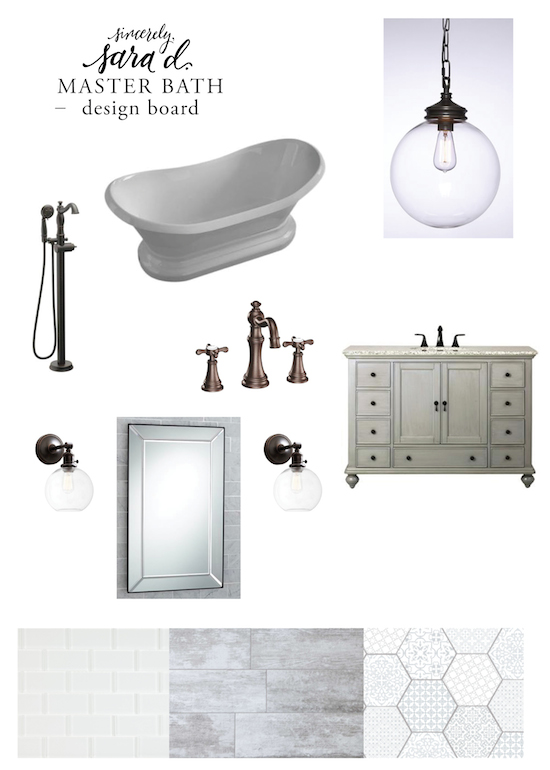 Master Bath Design Board - oil rubbed bronze