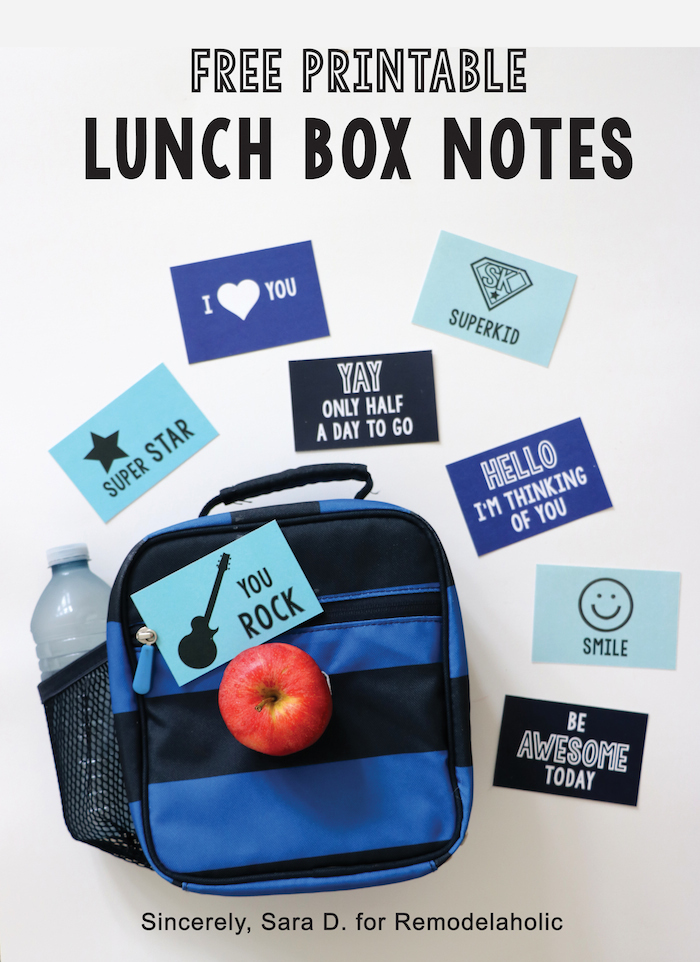 Free Printable Lunch Box Notes on Remodelaholic