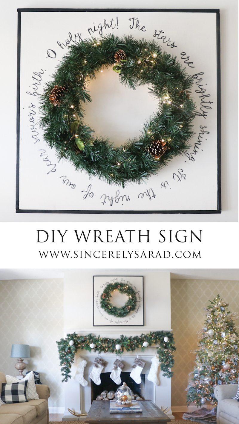 DIY Christmas Wood Wreath Sign
